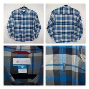 Columbia Size XL Casual Plaid Shirt 100% Cotton
